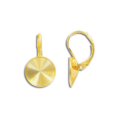 Earrings with setting for SS47 Swarovski Elements 1122 rivoli, gold plate