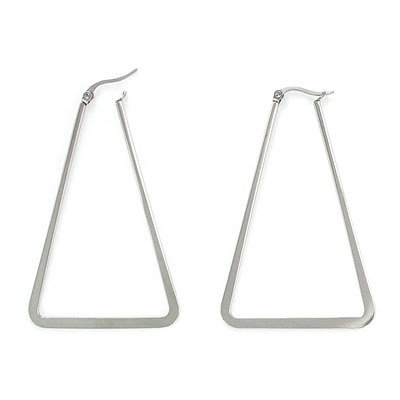 Earrings, 40x60mm, triangle, stainless steel