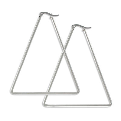 Earrings, 55x65mm, triangle, stainless steel