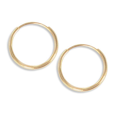 Endless ear hoops, 14mm, 1.25mm wire thickness, brass core, gold filled
