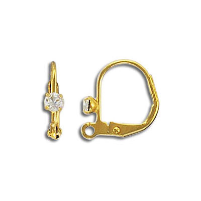 Earwire leverback with Swarovski crystal, 12.75x11mm, gold plated