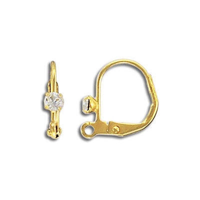 Earwire with swarovski crystal, with loop, stainless steel, gold plate