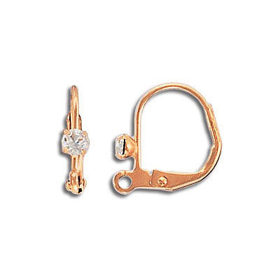 Earwire leverback with Swarovski crystal, 12.75x11mm, stainless steel, rose gold plate