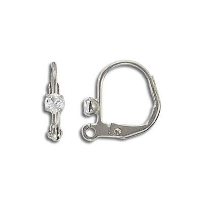 Earwire leverback with Swarovski crystal clear stone, stainless steel