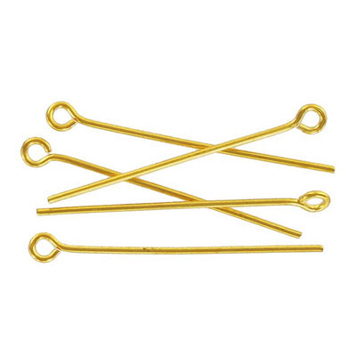 Eye pin 25mm (1) 0.7mm diameter 21 gauge gold plate (pack of 500 pieces) nkf