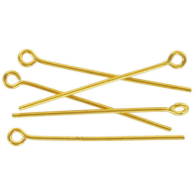 Eye pin 38mm (1.5) 0.7mm diameter 21 gauge gold plate (pack of 500 pieces) nkf