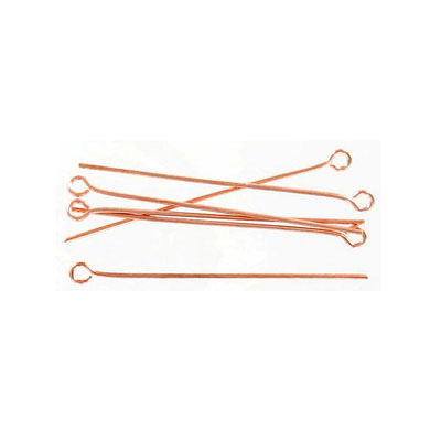 Eye pin, 1.5 inch, 0.7mm wire, rose gold plate