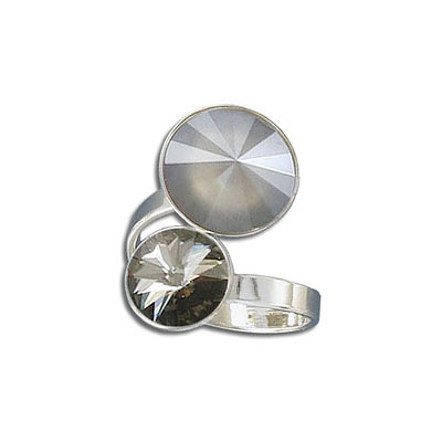 Finger ring expandable, large size 9.5-11.5, two settings for Swarovski 1122/ss47 and 1122/12mm, rhodium plate