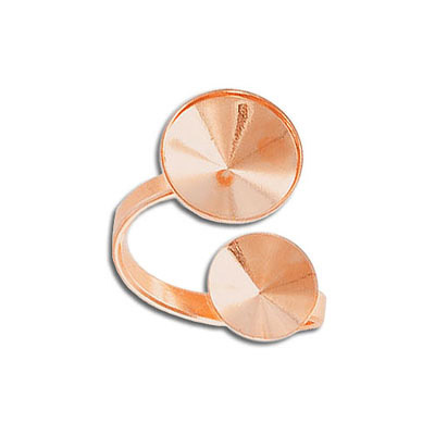 Finger ring expandable, size 6 3/4 - 12 3/4, two settings for Swarovski 1122/ss47 and 1122/12mm, rose gold plate