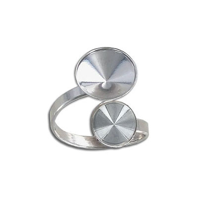 Finger ring expandable, size 6 3/4 - 12 3/4, two settings for swarovski 1122/ss47 and 1122/12mm, rhodium plate