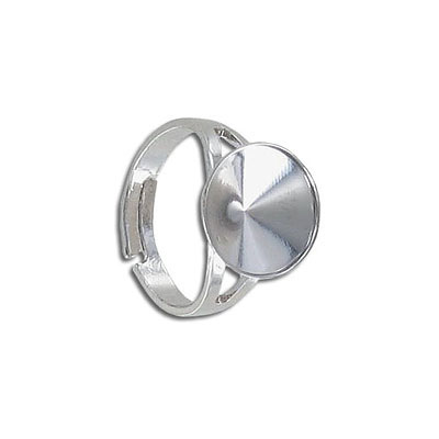 Finger ring expandable, size 7 1/4 - 11 1/2, setting for Swarovski 1122/12mm, rhodium plate