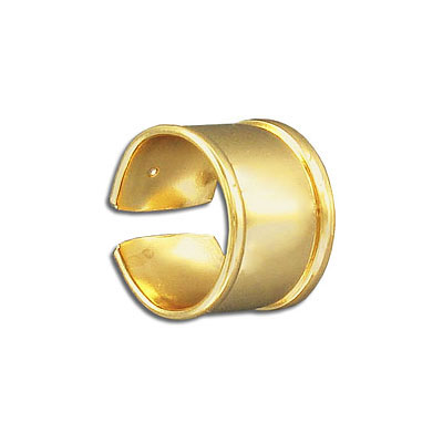 Brass ring base for 10mm flat cord, gold electroplated