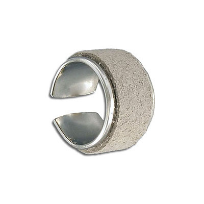 Brass ring base for 10mm flat cord, rhodium imitation