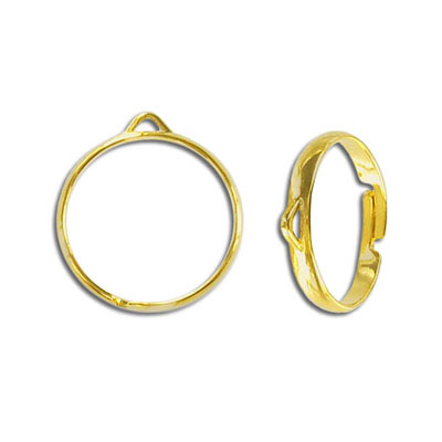 Beading finger ring, expandable, one row with 1 loop size 7.5+, gold plate