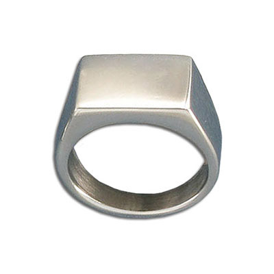 Finger ring, 11x16mm top, size 12, stainless steel