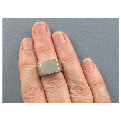 Finger ring, 11x16mm top, size 7, stainless steel