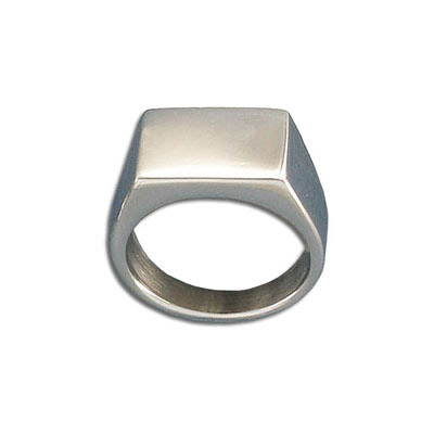 Finger ring, 11x16mm top, size 8, stainless steel