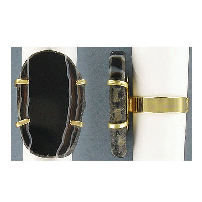 Expandable finger ring with black agate, 20x35mm, gold plate, size 7 +