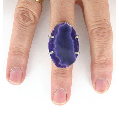 Expandable finger ring with purple agate, 20x35mm, rhodium imitation, size 7+