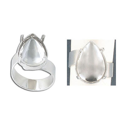 Expandable finger ring with setting for Swarovski 4320, size 18x13mm, rhoduim plate, size 6.5+