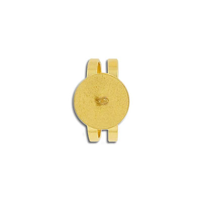 Finger ring expandable, 12mm pad, stainless steel, gold plate
