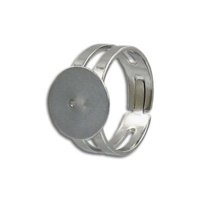 Finger ring expandable, 12mm round pad, stainless steel, 304l grade