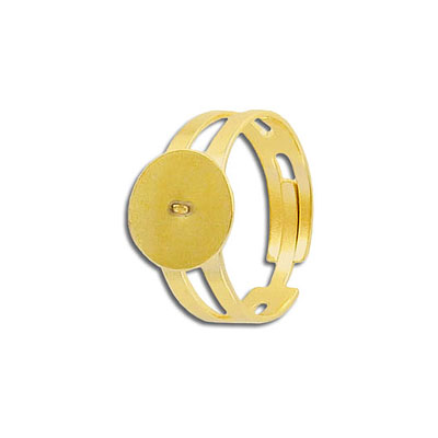 Finger ring expandable, 12mm pad, size 8.5 and up, stainless steel, gold plate