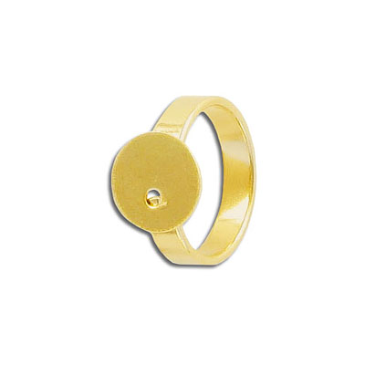 Finger ring expandable, 12mm pad, size 7 and up, stainless steel, grade 304l, gold plate