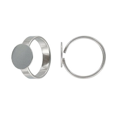Finger ring expandable, 12mm pad, size 7+, rhodium
