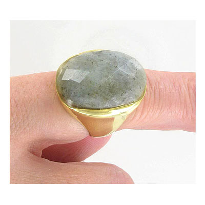 Finger ring, size 8, labrodorite cabochon, gold plate