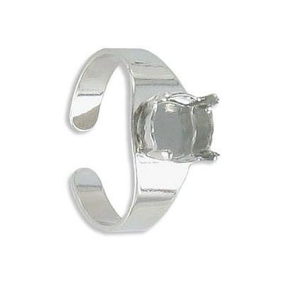 Expandable finger ring with prong setting for Swarovski SS39/1088, sizes 8-10, rhodium plate