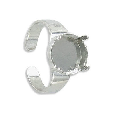 Expandable finger ring with prong setting for Swarovski 1122/12MM, sizes 6-9, rhodium plate