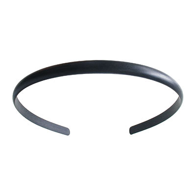 Hair band, 9mm, curved, blank, black