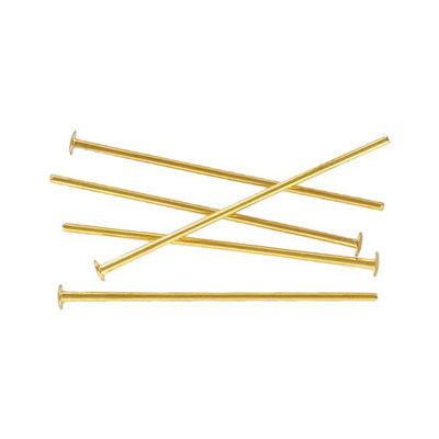 Headpin 25mm (1) 0.7mm diameter 21 gauge gold plate pack of 500 pieces nkf
