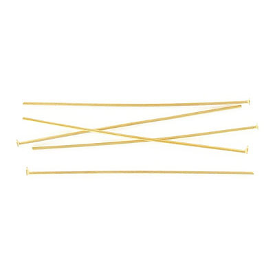 Head pin, 2 inch (50mm), 0.7mm wire, stainless steel, gold vacuum plating