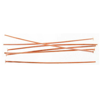 Head pin, 2 inch, 0.8mm wire, rose gold plate