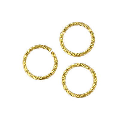 Jumpring 10mm outside diameter fancy twist gold plate nkf
