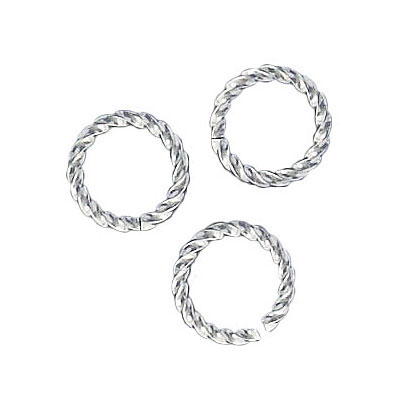 Jumpring 10mm outside diameter fancy twist silver plate