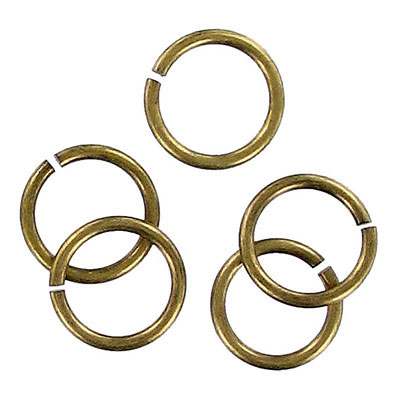 Jumpring 12mm outside diameter (1.4 mm, 15 gauge thickness) antique brass plate nkf