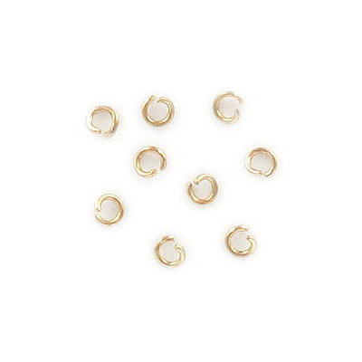 Jump rings, 3mm, 0.60mm (23ga) wire thickness, stainless steel, gold vacuum plated