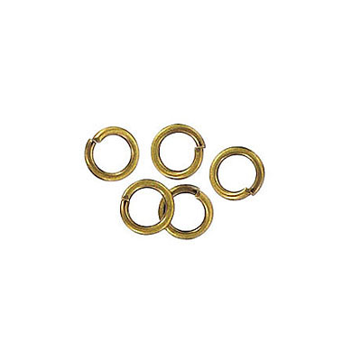 Jumpring 5mm outside diameter (0.8mm, 20 gauge thickness) antique brass plate nkf