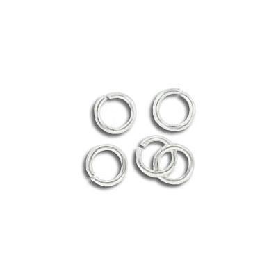 Jumpring 5mm outside diameter (0.8mm, 20 gauge thickness) silver plate nkf