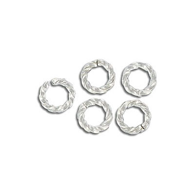Jumpring, twisted, 6mm outside diamteter, silver plate