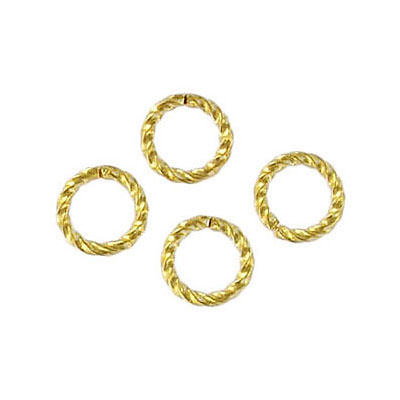 Jumpring 8mm outside diameter fancy twist gold plate nkf