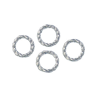 Jumpring 8mm outside diameter fancy twist silver plate nkf