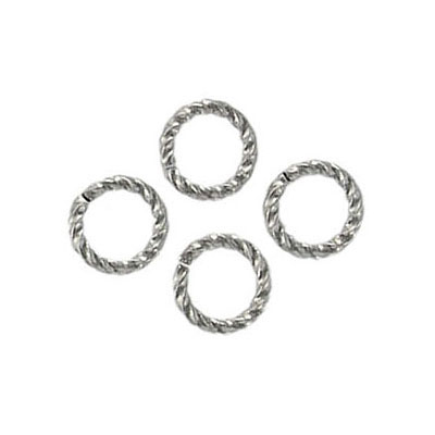 Jumpring 8mm outside diameter fancy twist nickel plate nkf
