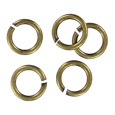 Jumpring 8mm outside diameter (1.2 mm, 17 gauge thickness) antique brass plate nkf