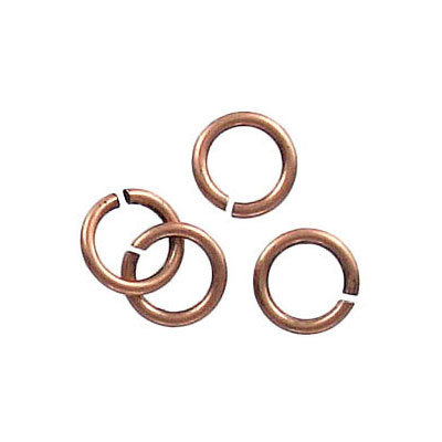 Jumpring 8mm outside diameter (1.2 mm, 17 gauge thickness) antique copper plate nkf