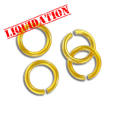 Jumpring aluminium, 10mm outside diameter, (1.6mm, 14 gauge thickness) gold plate