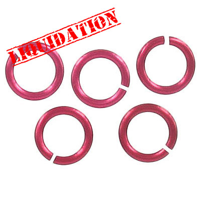 Jumpring aluminium, 10mm outside diameter, (1.6mm, 14 gauge thickness) red